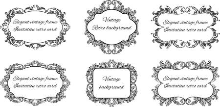 花スタイルのフレーム内のテキストの 6 の黒と白のフレームの設定します。