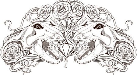 image of two simmetric skulls with roses and diamond Vector