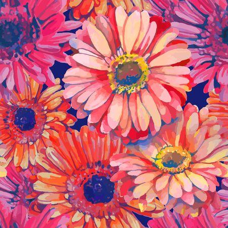 aquarel: seamless pattern element of colorful gerbera flowers Illustration