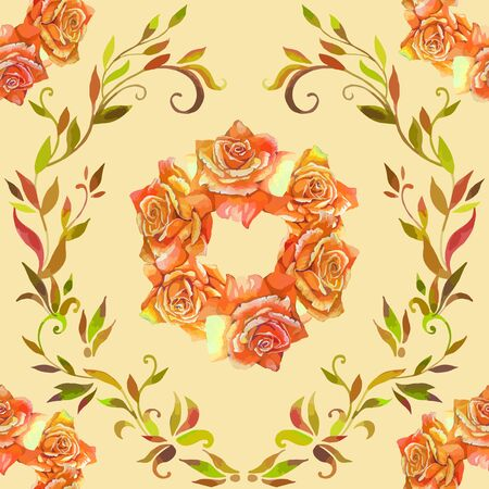aquarel: seamless pattern element of colorful rose flowers and graphic style leaves Illustration