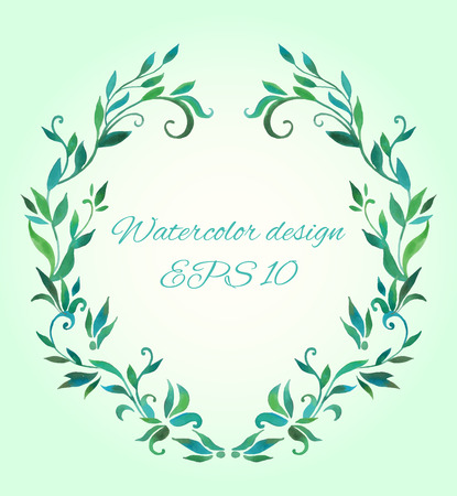 oval frame: oval frame made of leaves and branches in graphic style