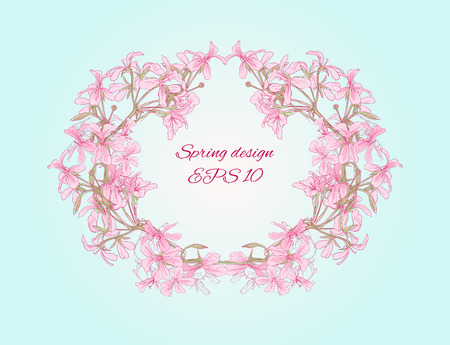 aquarel: oval frame made of romantic flowers with place for text