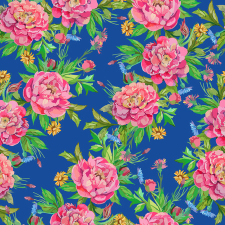 smaller: seamless pattern of peony flowers with leaves and smaller flowers