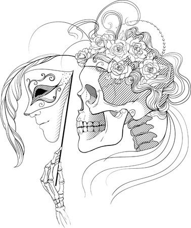 large skull: black and white illustration with skull holding a human face mask Illustration