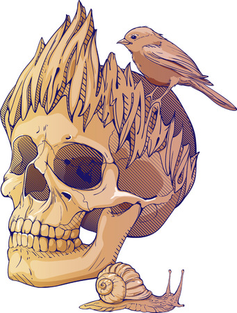 danger skull: colorful illustration with skull, bird and snail
