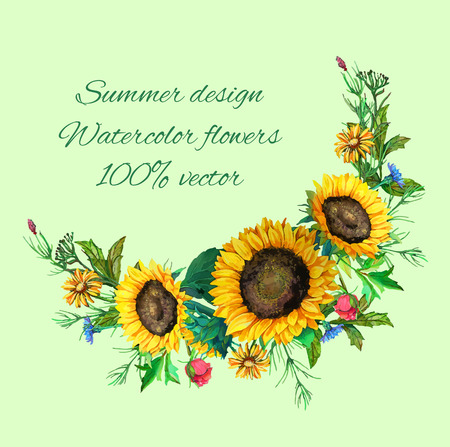 sunflower: bouquet of sunflowers with decoration of leaves and branches