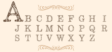 letters of alphabet with serifs filled with curly pattern Ilustracja