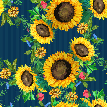 sunflower: seamless pattern of watercolor sunflowers big and small with green leaves 2