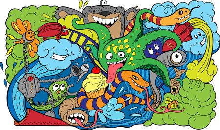 doodle of crazy sea-life creatures having fun 2