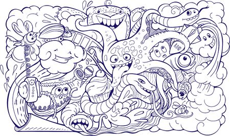 sealife: doodle of crazy sea-life creatures having fun