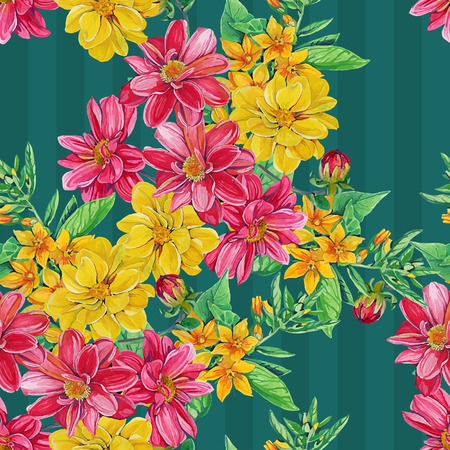aquarel: seamless pattern of dahlia flowers with leaves and smaller flowers Illustration
