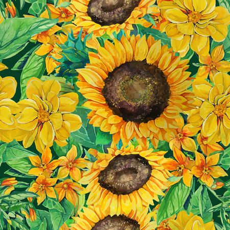 aquarel: seamless pattern of watercolor sunflowers  with flowers and green