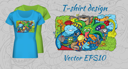sealife: t-shirt design with doodle of crazy sea-life creatures having fun