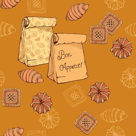 meringue: seamless pattern of  croissant, cookies and vairous bakery 2