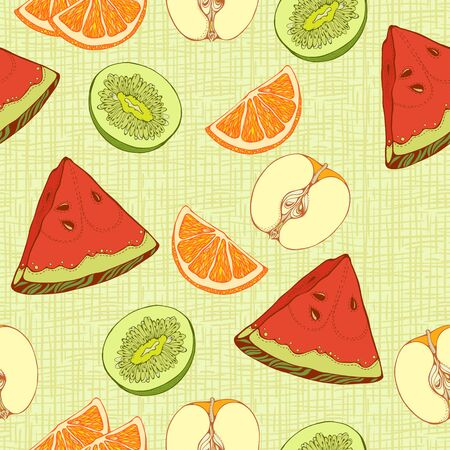 apples and oranges: seamless pattern of  slices of oranges, apples, kiwi and watermelon Illustration