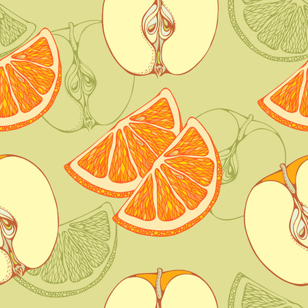 apples and oranges: seamless pattern of close-look of slices of oranges and apples 2