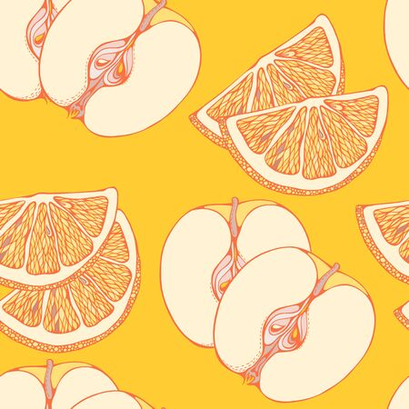 apples and oranges: seamless pattern of close-look of slices of oranges and apples