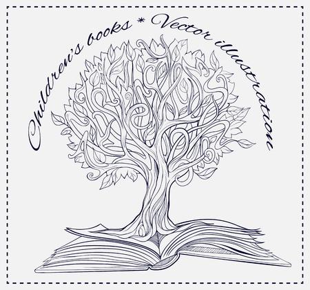 conocimiento: Imagen blanco y negro del árbol del conocimiento cada vez mayor de un libro