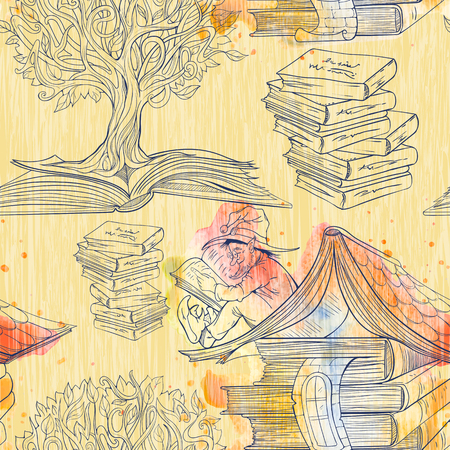 knowledge tree: Seamless pattern of books, knowledge tree and dwarf