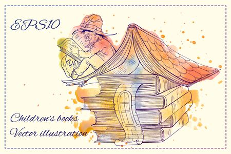 dwarf: Colorful image of a dwarf sitting on a roof of hous and readign book Illustration