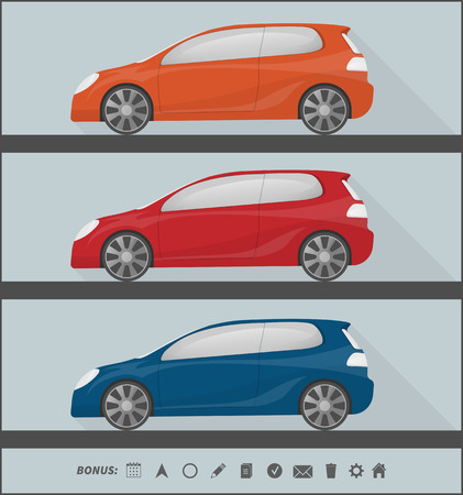set of three colorful isolated cars in flat style