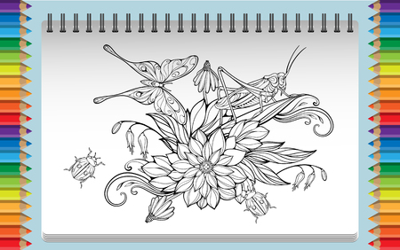 cloloring page with flowers, leaves, bug, grasshopper and butterfly Vectores