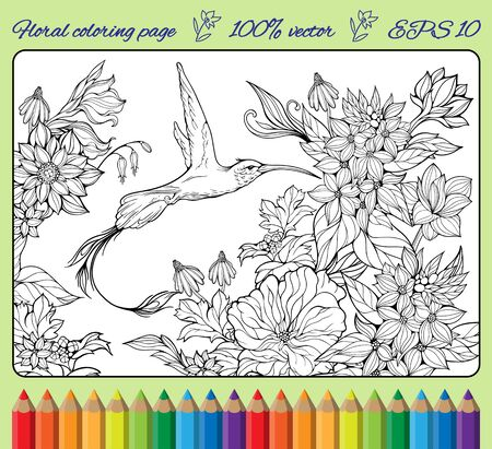 hummingbird: cloloring page with lots of flowers, leaves and one hummingbird