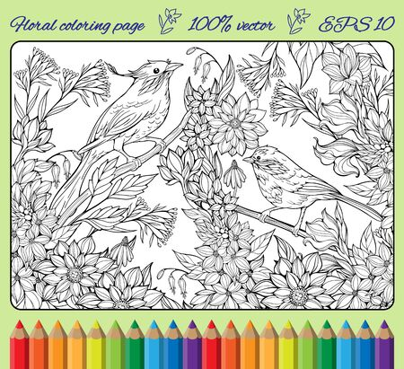 two birds: cloloring page with two birds on branches and lots of flowers Illustration