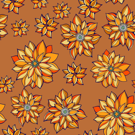 autumn flowers: seamless colorfuli pattern of colourful autumn flowers