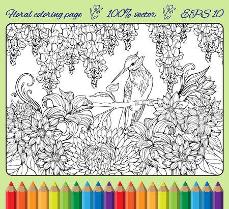 coloring page of bird on a branch in  a garden