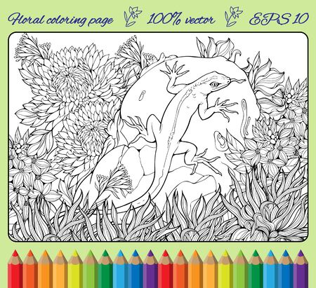 lagartija: Colorear con flores, hierba, roca y el lagarto