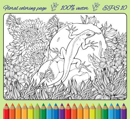 jaszczurka: kolorowanki z kwiatów, trawy, rocka i jaszczurki