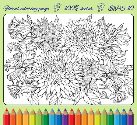 coloring sheet: coloring page with lots of various flowers