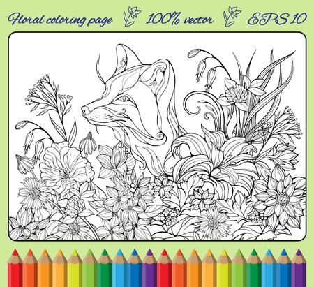 花の中に隠れているキツネとページを着色  イラスト・ベクター素材