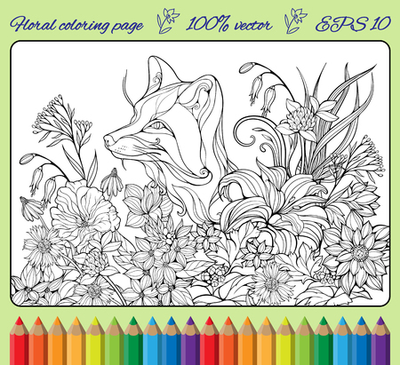 coloring page with fox hiding in flowers
