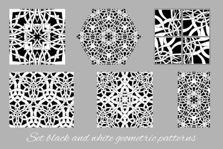black and white celtic: set of black and white geometric patterns in celtic style