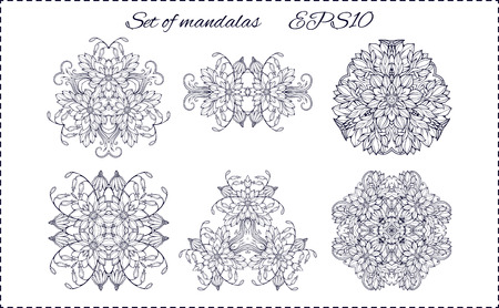wallpaper image: set of six isolated floral elements forming mandala patterns