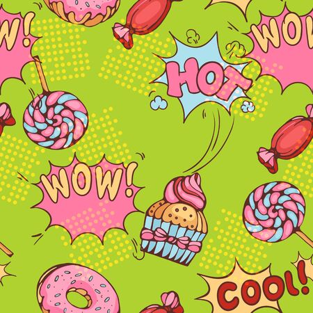 graphic art: seamless pattern of donuts, candies and lollypops in popart style