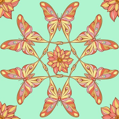 aquarel: seamless pattern of big colorful butterflies forming mandala shapes