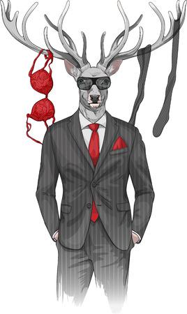 beeld van de man met herten hoofd en lingerie items op hoorns
