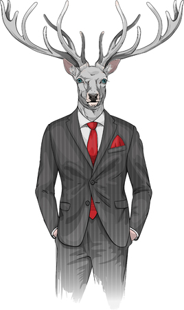 stag party: image of man with deers head dressed in a suit Illustration