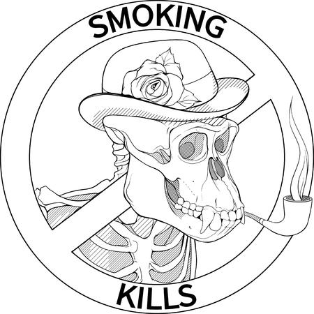 black and white no-smoking sing with gorillas skeleton smoking pipe