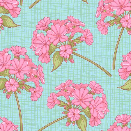 seamless pattern of pink flowers on a  branch