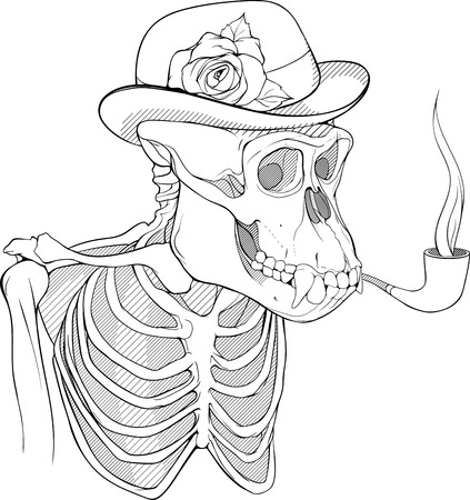 black and white skeleton of gorilla smoking pipe and wearing hat with flower
