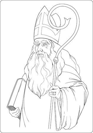 sinterklaas: isolated black and white image of santa claus.sinterklaas