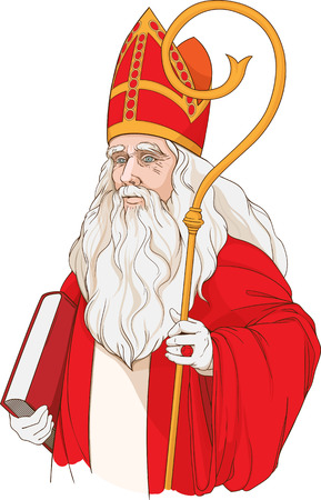 geïsoleerde kleurrijk beeld van de kerstman met boek Stock Illustratie