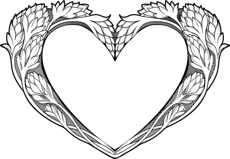 isolated black and white  image of heart in art nouveau style Illustration