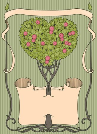 arbre coloré en forme de coeur avec papirus et cadre Vecteurs