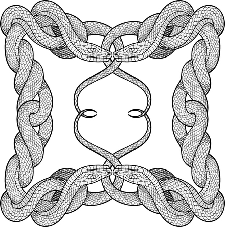 rope folk: black and white frame made of four twisted snakes