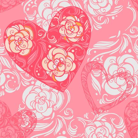 aster flowers: Seamless pattern of aster flowers with leaves and hearts Illustration